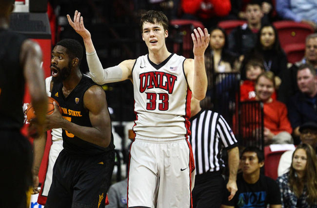 UNLV forward Stephen Zimmerman Jr. (33) reacts to a call while playing against Arizona State during a basketball game at the Thomas & Mack Center in Las Vegas on Wednesday, Dec. 16, 2015. Ariz ...