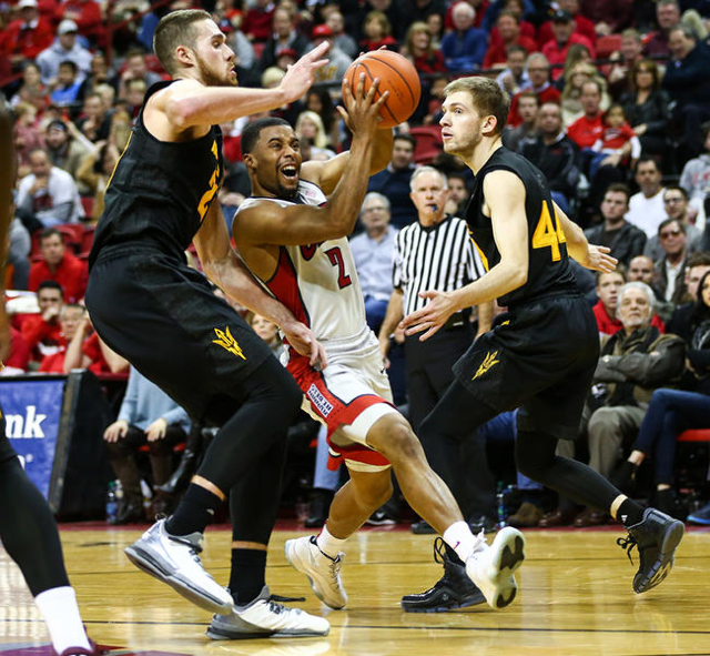 UNLV guard Jerome Seagears (2) drives against Arizona State forward Eric Jacobsen (21) during a basketball game at the Thomas & Mack Center in Las Vegas on Wednesday, Dec. 16, 2015. Arizona St ...