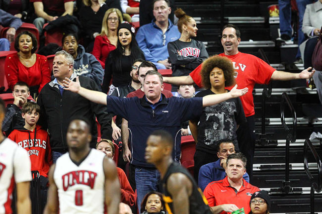 UNLV fans react during a basketball game against Arizona State at the Thomas & Mack Center in Las Vegas on Wednesday, Dec. 16, 2015. Arizona State won 66-56 over UNLV. Chase Stevens/Las Vegas  ...