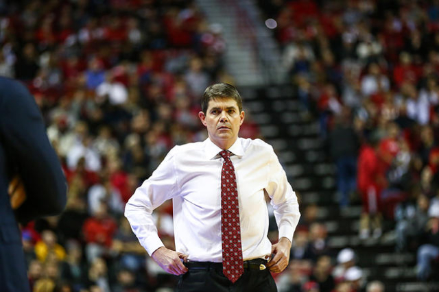 UNLV head coach Dave Rice reacts during a basketball game against Arizona State at the Thomas & Mack Center in Las Vegas on Wednesday, Dec. 16, 2015. Arizona State won 66-56 over UNLV. Chase S ...
