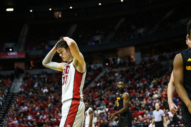 UNLV forward Stephen Zimmerman Jr. (33) reacts  during a basketball game against Arizona State at the Thomas & Mack Center in Las Vegas on Wednesday, Dec. 16, 2015. Arizona State won 66-56 ove ...