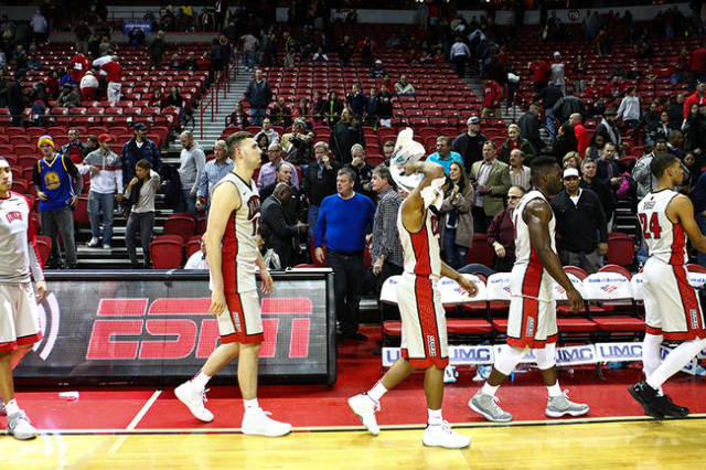 UNLV players walk off the court after losing to Arizona State 66-56 in a basketball game at the Thomas & Mack Center in Las Vegas on Wednesday, Dec. 16, 2015. Chase Stevens/Las Vegas Review-Jo ...