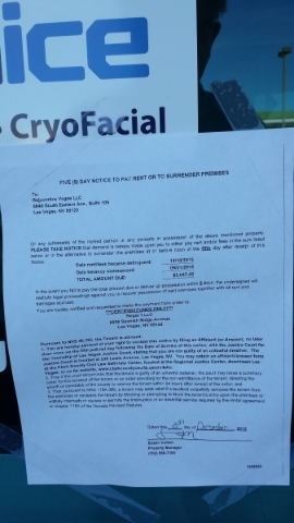 A cease-and-desist order and delinquent rent notice appear on the front door of the Rejuvenice cryotherapy business at 8846 S. Eastern Ave., near Pebble Road, on Sunday, Dec. 13. The state closed  ...