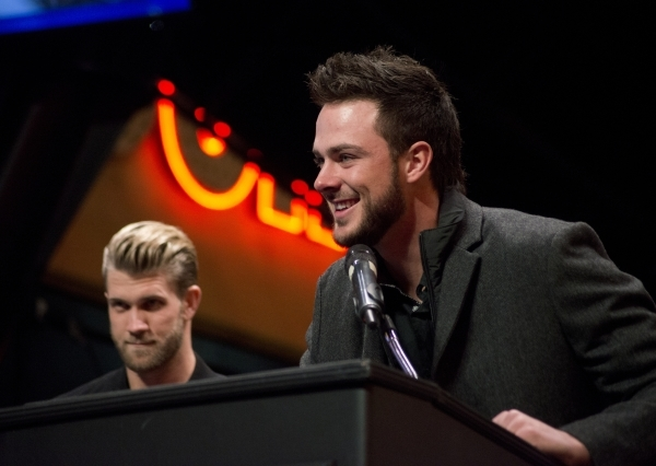 Kris Bryant, National League Rookie of the Year, right, and Bryce Harper, National League MVP, and accept keys to the city from Mayor Carolyn Goodman on the Third Street Stage inside the Fremont s ...