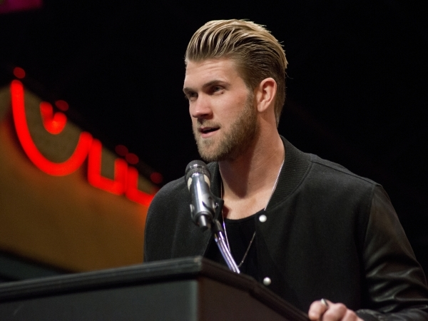 Bryce Harper, National League MVP accepts a key to the city from Mayor Carolyn Goodman on the Third Street Stage inside the Fremont street experience in downtown Las Vegas on Thursday, Dec. 17, 20 ...