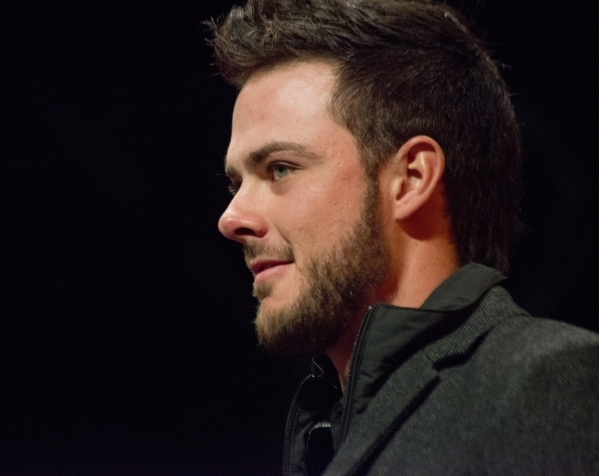 Baseball star Kris Bryant, National League Rookie of the Year, is seen before accepting a key to the city on the Third Street Stage inside the Fremont Street Experience in downtown Las Vegas on Th ...
