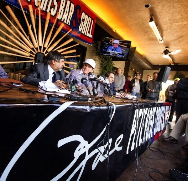Major League Baseball all-time hits leader Pete Rose sits during a press conference outside Pete Rose Sports Bar and Grill, 3743 S Las Vegas Boulevard, on Tuesday, Dec. 15, 2015. MLB commissioner  ...
