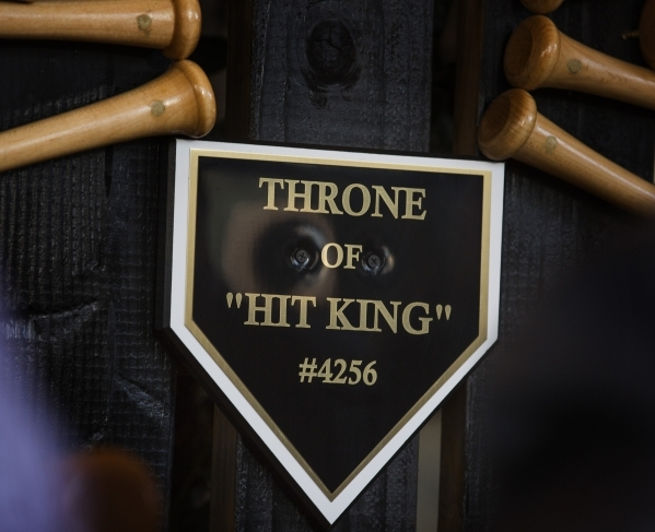 A display honor Major League Baseball all hits leader Pete Rose is seen  outside Pete Rose Sports Bar and Grill, 3743 S Las Vegas Boulevard, on Tuesday, Dec. 15, 2015. MLB commissioner Rob Manfred ...