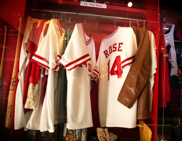 A display of  Pete Rose memorabilia is seen inside Pete Rose Sports Bar and Grill, 3743 S Las Vegas Boulevard, after he conducted  a press conference on Tuesday, Dec. 15, 2015. MLB commissioner Ro ...