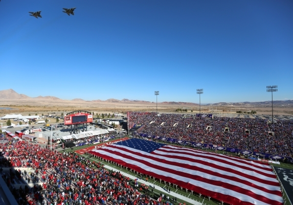 Two F-15s fly over the 2015 Royal Purple Las Vegas Bowl game between Utah and BYU at Sam Boyd Stadium on Saturday, Dec. 19, 2015, in Las Vegas. Brett Le Blanc/Las Vegas Review-Journal Follow @bleb ...