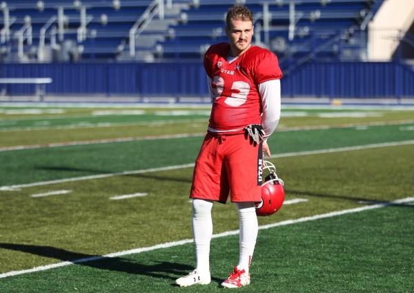 University of Utah's punter Tom Hackett (33) stands on the field during a team practice at Bishop Gorman High School in Las Vegas Wednesday, Dec. 16, 2016. Erik Verduzco/Las Vegas Review-Jou ...
