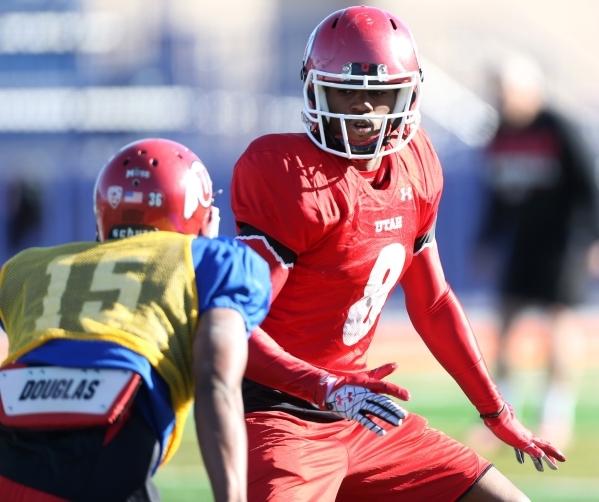 "University of Utah's running back James ""Bubba"" Poole (8) plays defense during a team practice at Bishop Gorman High School in Las Vegas Wednesday, Dec. 16, 2015. Erik Verduzco/Las ..."