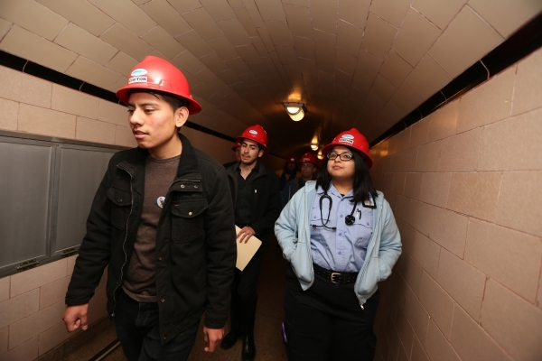 Arnold Placencia-Flores, from left, Hector Lizaola, and Rosalia Salazar, members of Nuestro Rio, a Latino Colorado River conservation group, tour the Hoover Dam on Thursday, Dec. 17, 2015. Erik Ve ...