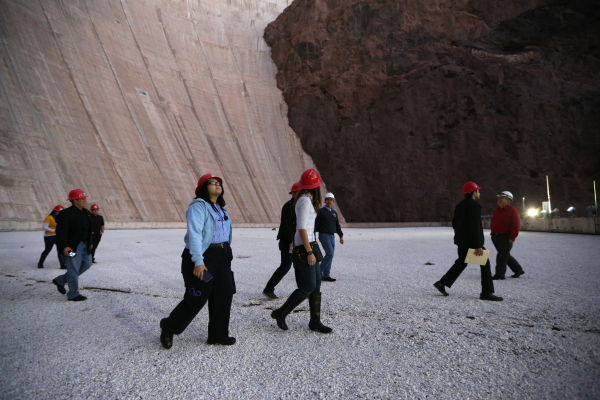 Members of Nuestro Rio, a Latino Colorado River conservation group, tours the roof the central section of the Hoover Dam on Thursday, Dec. 17, 2015. Erik Verduzco/Las Vegas Review-Journal Follow @ ...