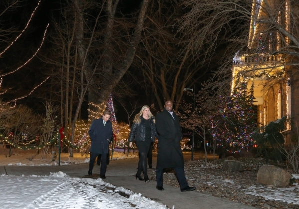 Nevada Sens. Greg Brower, Patricia Farley and Kelvin Atkinson walk back to the Legislative Building after notifying the Governor the Senate is convened and ready for business in Carson City on Wed ...
