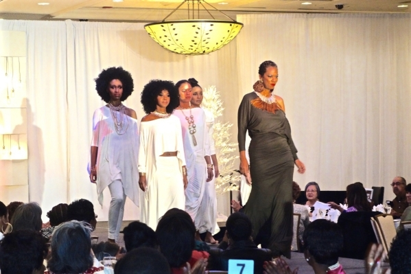 Crystal Ball was director of The Links fashion show and also one of its designers. Here she leads four models wearing So Crystal Designs. Diane Taylor/Special to View
