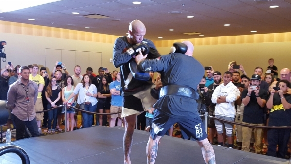 Ultimate Fighting Championship veteran Donald Cerrone participates in open workouts at the Hyatt Regency in Orlando, Fla., on Thursday in advance of his title fight against champion Rafael dos Anj ...