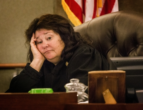 District Judge Elizabeth Gonzalez sits during a hearing at Clark County Justice Center on Thursday, April 30, 2015.  Gonzalez presided over arguments that day in the case of former Sands China CEO ...