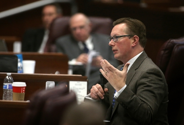 Nevada Sen. Ben Kieckhefer, R-Reno, asks questions during a Senate Committee of the Whole hearing at the Legislative Building in Carson City on Thursday, Dec. 17, 2015. Lawmakers continue to hear  ...
