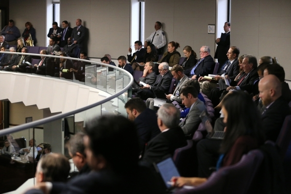 Lobbyists listen to a Senate Committee of the Whole hearing at the Legislative Building in Carson City on Thursday, Dec. 17, 2015. Lawmakers continue to hear details of a bill that would give Fara ...
