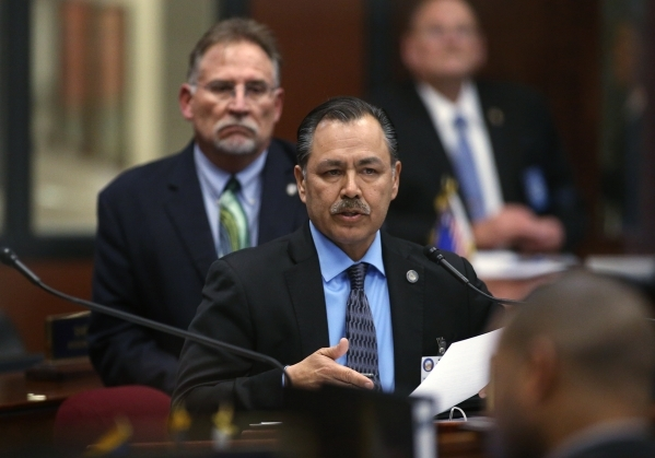 Rudy Malfabon, director of the Nevada Department of Transportation, center, testifies before the Nevada Senate Committee of the Whole at the Legislative Building in Carson City on Thursday, Dec. 1 ...