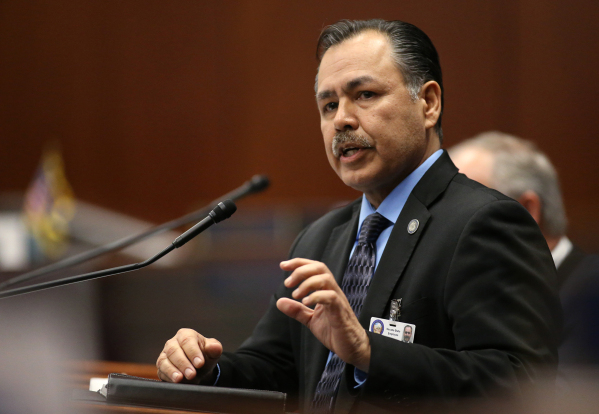 Rudy Malfabon, director of the Nevada Department of Transportation, testifies before the Nevada Senate Committee of the Whole at the Legislative Building in Carson City on Thursday, Dec. 17, 2015. ...