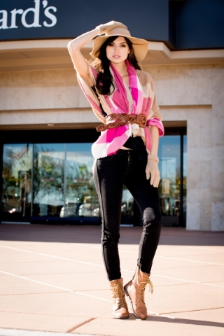 Model Raquel W, wearing accessories from Dillard's. Photo Credit FashionTrend.Vegas.