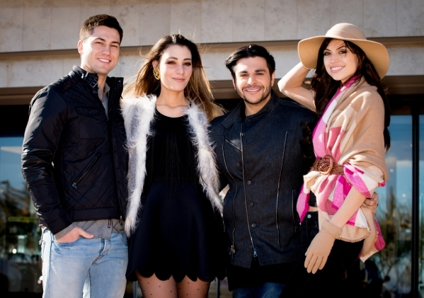 Models Ben B, wearing attire from Dillard's FashionTrend.Vegas editor Maria Matta-Caro, Zar Zanganeh, co-host Valley View Live and model Raquel W, wearing accessories from Dillard's. P ...