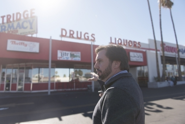 Developer J Dapper gives a tour of property acquired by his business, Dapper Companies, on the southwest corner of Charleston Boulevard and Maryland Parkway Nov. 6. Jason Ogulnik/View file photo