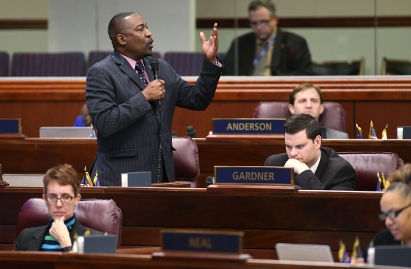Nevada Assemblyman Tyrone Thompson urges lawmakers to support a workforce development bill at the Legislative Building in Carson City, Nev., on Friday, Dec. 18, 2015. Gov. Brian Sandoval convened  ...