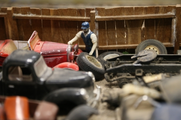A close up of the model garden railway display the Las Vegas Railway Society organized at Jim Marsh Kia in northwest Las Vegas Sunday, Dec. 20, 2015. The display will be open to the public Dec. 24 ...