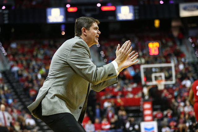 UNLV head coach Dave Rice reacts as the team plays against South Dakota during a basketball game at the Thomas & Mack Center in Las Vegas on Tuesday, Dec. 22, 2015. UNLV won 103-68. Chase Stev ...
