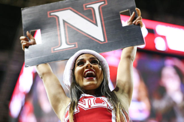 A UNLV cheerleader performs as the team plays South Dakota during a basketball game at the Thomas & Mack Center in Las Vegas on Tuesday, Dec. 22, 2015. UNLV won 103-68. Chase Stevens/Las Vegas ...