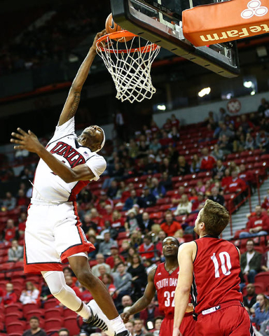 UNLV forward Derrick Jones Jr. (1) goes in for a shot against South Dakota during a basketball game at the Thomas & Mack Center in Las Vegas on Tuesday, Dec. 22, 2015. UNLV won 103-68. Chase S ...
