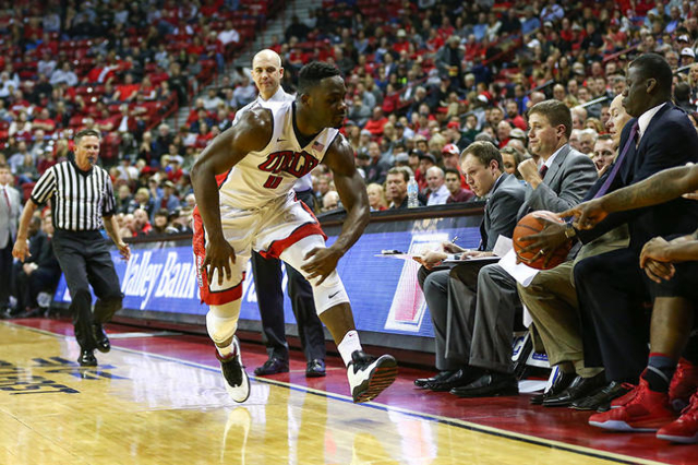 UNLV guard Ike Nwamu (0) misses a pass while playing against South Dakota during a basketball game at the Thomas & Mack Center in Las Vegas on Tuesday, Dec. 22, 2015. UNLV won 103-68. Chase St ...