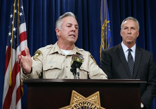 Clark County Sheriff Joe Lombardo speaks about a Sunday night car crash on the Strip at a press conference at Las Vegas Metropolitan Police Department headquarters on Monday, Dec. 21, 2015, as Cla ...