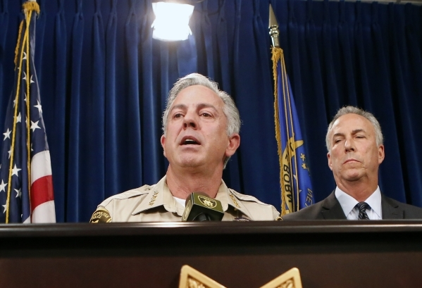 Clark County Sheriff Joe Lombardo speaks about a Sunday night car crash on the Strip during a news conference at Las Vegas Metropolitan Police Department headquarters on Monday, Dec. 21, 2015, as  ...