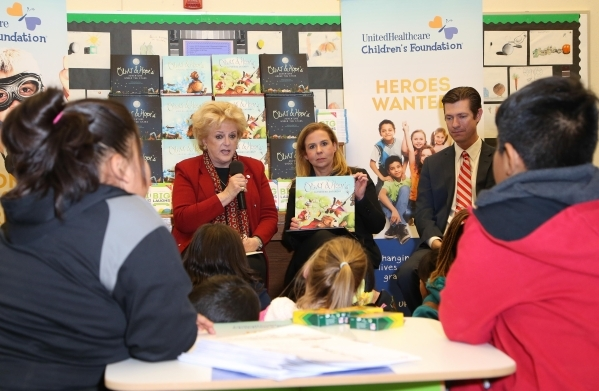 (L-R) Las Vegas Mayor Carolyn Goodman, Kim Sonerholm of UnitedHealthcare and Dr. Mike Barton of CCSD speak to children at J.T. McWilliams Elementary School during a reading event where UnitedHealt ...