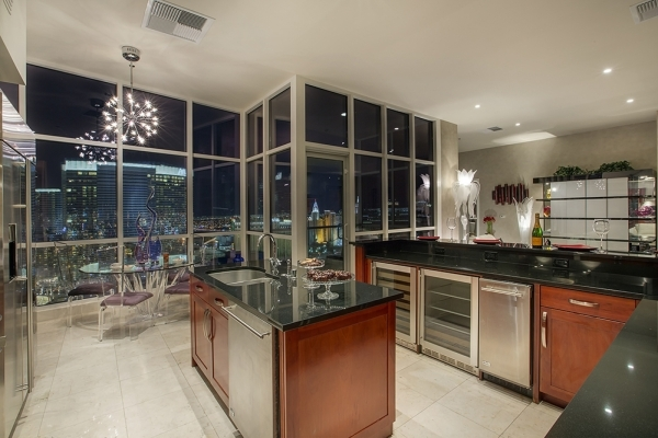 The  Panorama Towers penthouse kitchen.   COURTESY