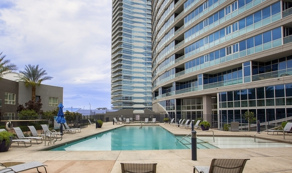 The pool at  Panorama Towers on Dean Martin Drive west of Interstate 15.  COURTESY