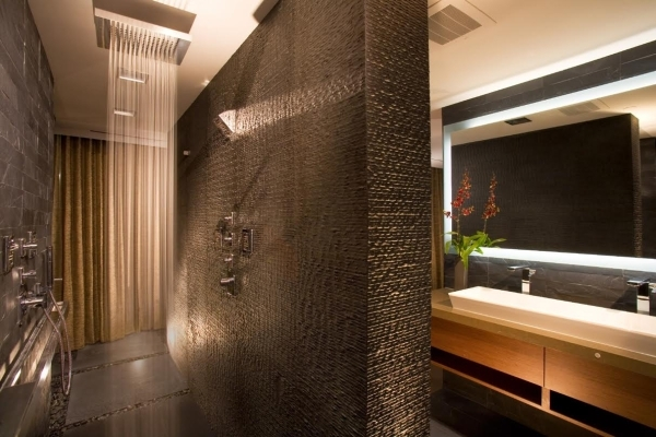 The master bath in Panorama Towers unit 2400.   COURTESY