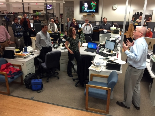 Las Vegas Review-Journal Editor Mike Hengel, right, announces to the newsroom staff Tuesday, Dec. 22, 2015, that he has accepted a buyout, and will be leaving the newspaper. K.M. Cannon/Las Vegas  ...