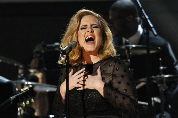 "Adele performs ""Rolling in the Deep"" at the 54th annual Grammy Awards in Los Angeles, California, February 12, 2012.     REUTERS/Mario Anzuoni (UNITED STATES  - Tags: ENTERTAINMENT TPX I ..."