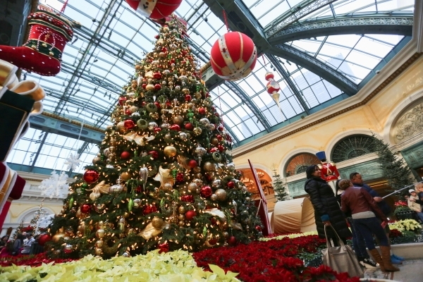 people pose for photos with the 42 foot tall christmas tree at the bellagio on - Las Vegas Christmas Decorations