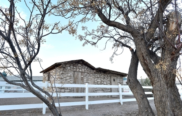 The recently restored adobe hut is seen at Floyd Lamb Park at Tule Springs Monday, Dec. 28, 2015, in Las Vegas. The project on the early 1900s building was funded by grants from the Nevada State C ...
