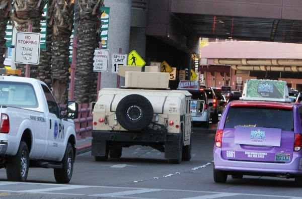 Nevada Army Guard Humvee patrol outside McCarran International Airport on Wednesday, Dec. 30, 2015. Bizuayehu Tesfaye/Las Vegas Review-Journal Follow @bizutesfaye