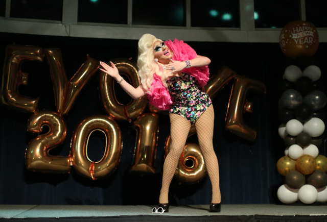 Drag Queen Trixie Mattel performs during the EvoLVe Vegas party in the Havana Room at the Tropicana Hotel-Casino on the Strip in Las Vegas on New Year's Eve Thursday, Dec. 31, 2015. Brett Le ...