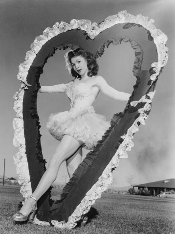 "Ffolliott ""Fluff"" LeCoque, poses for a 1950s era Valentines Day ""cheesecake photo"" by the Las Vegas News Bureau staff. Lecoque died on Thursday, Dec. 10, 2015 at age 92. (Las Vegas N ..."