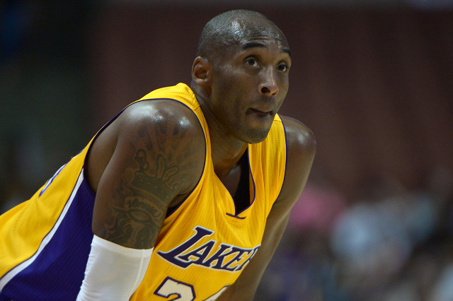 Oct 16, 2014; Anaheim, CA, USA; Los Angeles Lakers guard Kobe Bryant (24) reacts against the Utah Jazz at the Honda Center. (Kirby Lee/USA Today Sports)