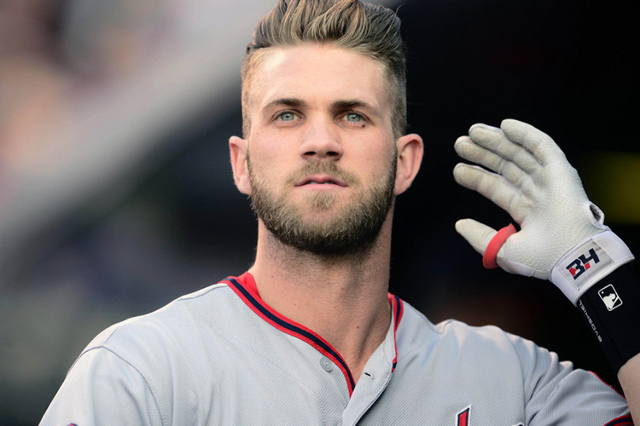 Aug 20, 2015; Denver, CO, USA; Washington Nationals right fielder Bryce Harper (34) in the first inning against the Colorado Rockies at Coors Field. (Ron Chenoy/USA Today Sports)